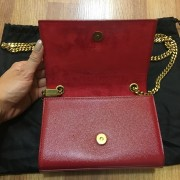 Yves Saint Laurent Paris YSL Red Leather WOC Wallet on Chain GHW Lust4Labels 3