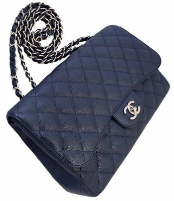 92436e1e2d5c $7500 Chanel Classic Navy Blue Caviar Quilted Leather Jumbo Flap Bag ...
