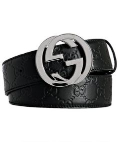 8777c12aef7  500 Gucci Classic Black Leather Interlocking GG Logo Belt SZ 80 ...