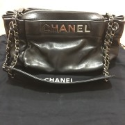 Chanel Classic Logo Black Lambskin Leather LAX Accordion Camera Shoulder Bag Purse Lust4Labels 1