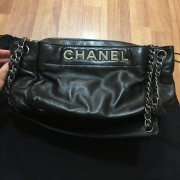 Chanel Classic Logo Black Lambskin Leather LAX Accordion Camera Shoulder Bag Purse Lust4Labels 2