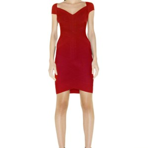 Herve Leger Lipstick Red Angled Kate Bandage Bodycon Dress XXS Lust4Labels 6