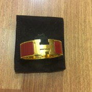 Hermes H Logo Clic Clac Bracelet Bangle Red Enamel PM Lust4Labels 1
