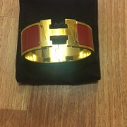 Hermes H Logo Clic Clac Bracelet Bangle Red Enamel PM Lust4Labels 2
