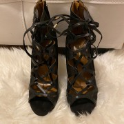 Aquazzura Black Leather Suede Strappy French Lover Booties SZ 37 Lust4Labels 1