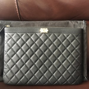 Chanel Classic Black Caviar Quilted Leather Medium O Case Clutch Lust4Labels 1