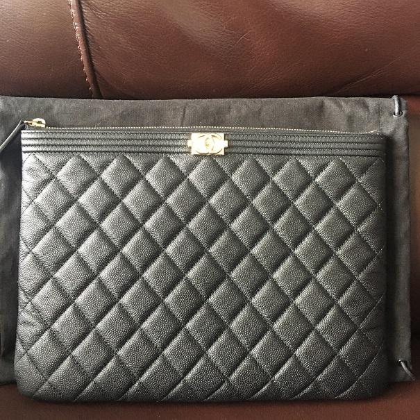 1a832a5bd82f Chanel Classic Black Caviar Quilted Leather Medium O Case Clutch  Lust4Labels 1
