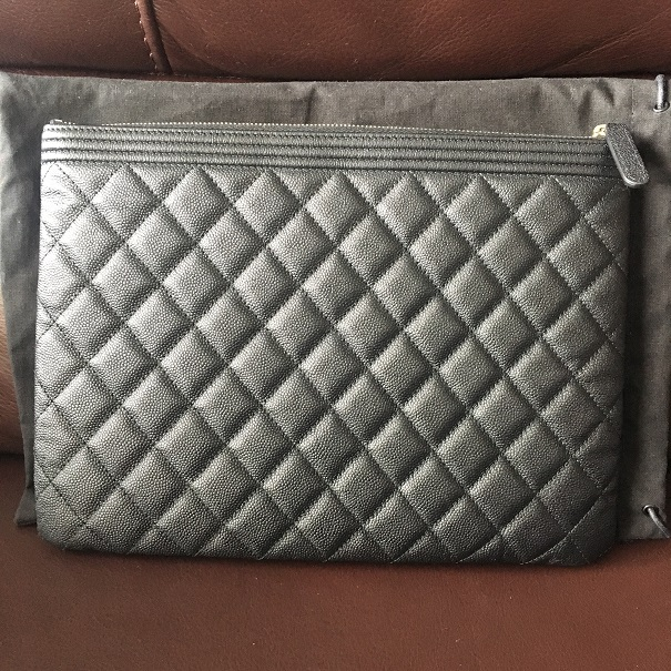 22db2a14f828 $1300 Chanel Classic Black Caviar Quilted Leather Medium Boy O Case ...