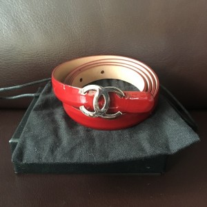 Chanel Classic Red Patent Leather Skinny Waist Belt SZ 80 Lust4Labels 1