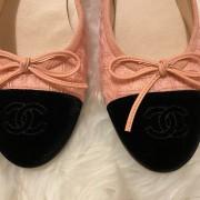 Chanel Pink Tweed Black Velvet Captoe CC Logo Ballet Flats SZ 37C Lust4Labels 2