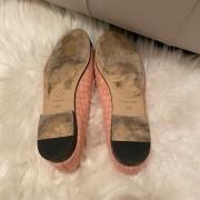 Chanel Pink Tweed Black Velvet Captoe CC Logo Ballet Flats SZ 37C Lust4Labels 3