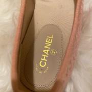 Chanel Pink Tweed Black Velvet Captoe CC Logo Ballet Flats SZ 37C Lust4Labels 5