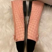 Chanel Pink Tweed Black Velvet Captoe CC Logo Ballet Flats SZ 37C Lust4Labels 8