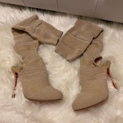 Christian Louboutin Beige Nude Sock Thigh High Cheminetta 120mm Boots SZ 38 Lust4Labels 1
