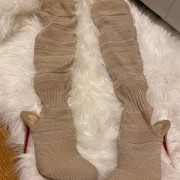 Christian Louboutin Beige Nude Sock Thigh High Cheminetta 120mm Boots SZ 38 Lust4Labels 2