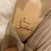 Christian Louboutin Beige Nude Sock Thigh High Cheminetta 120mm Boots SZ 38 Lust4Labels 4