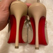 Christian Louboutin Beige Nude Sock Thigh High Cheminetta 120mm Boots SZ 38 Lust4Labels 7