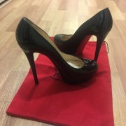 Christian Louboutin Classic Black Patent Leather Bianca 140 Pumps 36.5 Lust4Labels 1