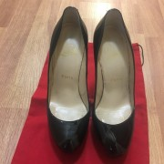 Christian Louboutin Classic Black Patent Leather Bianca 140 Pumps 36.5 Lust4Labels 2