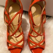 Christian Louboutin Coral Leather Strappy Sandals Heels SZ 37.5 Lust4Labels 1
