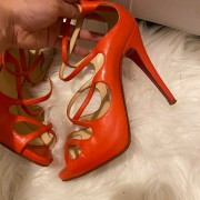 Christian Louboutin Coral Leather Strappy Sandals Heels SZ 37.5 Lust4Labels 3
