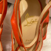 Christian Louboutin Coral Leather Strappy Sandals Heels SZ 37.5 Lust4Labels 4