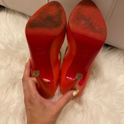 Christian Louboutin Coral Leather Strappy Sandals Heels SZ 37.5 Lust4Labels 7