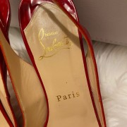 Christian Louboutin Red Patent Leather Prive Sling Peep 120mm Heels SZ 37.5 Lust4Labels 2
