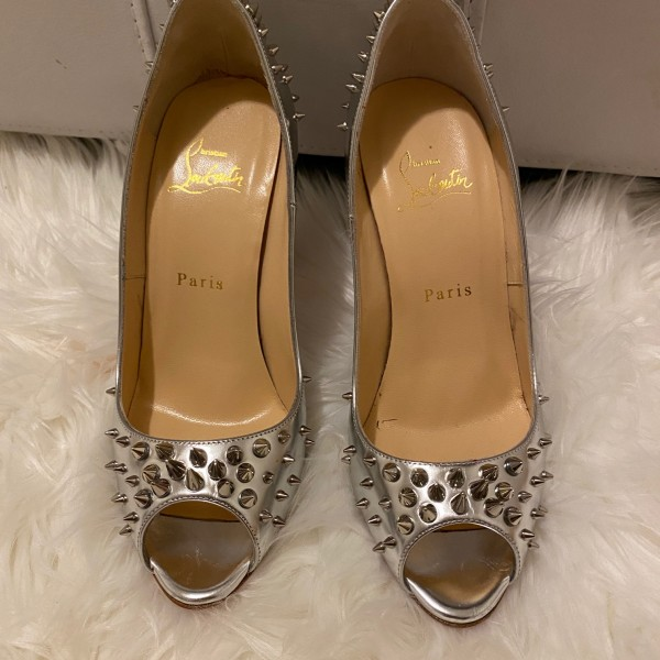 Christian Louboutin Silver Spikes Peep Chunky Heel Pumps SZ 38 Lust4Labels 1