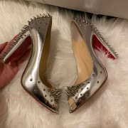 Christian Louboutin Silver Spikes Peep Chunky Heel Pumps SZ 38 Lust4Labels 2