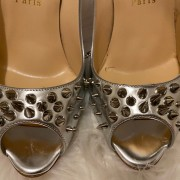 Christian Louboutin Silver Spikes Peep Chunky Heel Pumps SZ 38 Lust4Labels 6