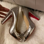 Christian Louboutin Silver Spikes Peep Chunky Heel Pumps SZ 38 Lust4Labels 7