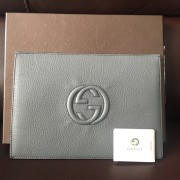 Gucci Dark Green Pebbled Leather GG Logo Envelope Case Clutch Lust4Labels 1