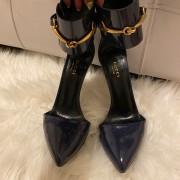 Gucci Navy Blue Patent Leather Ursula Horsebit Pumps SZ 36.5 37.5 Lust4Labels 1