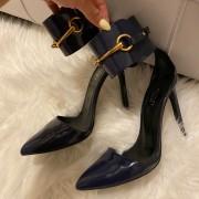 Gucci Navy Blue Patent Leather Ursula Horsebit Pumps SZ 36.5 37.5 Lust4Labels 4