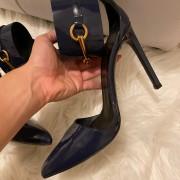 Gucci Navy Blue Patent Leather Ursula Horsebit Pumps SZ 36.5 37.5 Lust4Labels 6