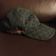 Gucci Monogram Canvas GG Logo Black Stripe Baseball Cap Hat Lust4Labels 1