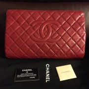 Chanel Classic Quilted Caviar Leather Timeless CC Logo Large Red Clutch Lust4Labels 1