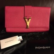 Yves Saint Laurent Pink Pebbled Leather Y Chyc Clutch GHW Lust4Labels 1