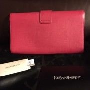 Yves Saint Laurent Pink Pebbled Leather Y Chyc Clutch GHW Lust4Labels 2