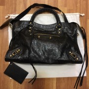Balenciaga Classic Black Distressed Glazed Lamb Leather City Bag Purse GHW Lust4Labels 1