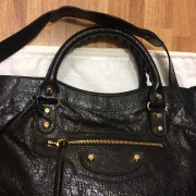 Balenciaga Classic Black Distressed Glazed Lamb Leather City Bag Purse GHW Lust4Labels 2