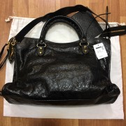 Balenciaga Classic Black Distressed Glazed Lamb Leather City Bag Purse GHW Lust4Labels 3