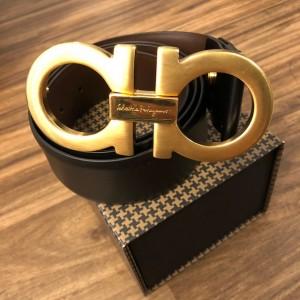 Salvatore Ferragamo Gancini Gold Logo Mens Reversible Belt SZ 34 Lust4Labels 2
