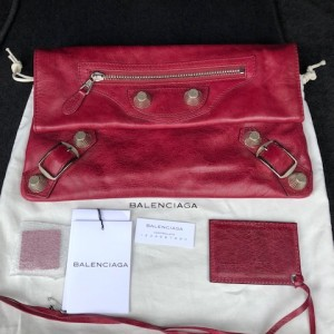 Balenciaga Classic Berry Pink Lamb Leather City Clutch Lust4Labels 9