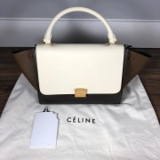 Celine Classic White Brown Olive Tri Color Small Leather Trapeze Bag Lust4Labels 1