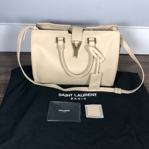 YSL Yves Saint Laurent Classic Cabas Chyc Nude Bone Smooth Small Leather Tote Bag Lust4Labels 1