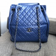 Chanel Classic CC Lock Drawstring Blue Quilted Lamb Bucket Bag Lust4Labels 1