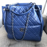 Chanel Classic CC Lock Drawstring Blue Quilted Lamb Bucket Bag Lust4Labels 13