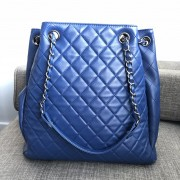 Chanel Classic CC Lock Drawstring Blue Quilted Lamb Bucket Bag Lust4Labels 2